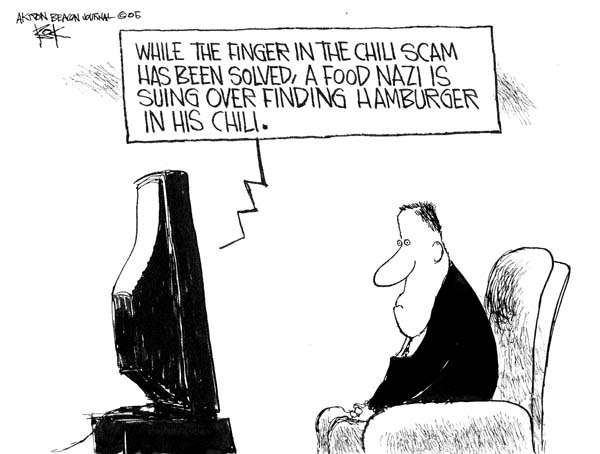 While the finger in the chili scam has been solved, a food nazi is suing over finding hamburger in his chili.