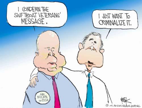 Cartoonist Chip Bok  Chip Bok's Editorial Cartoons 2004-08-30 endorsement