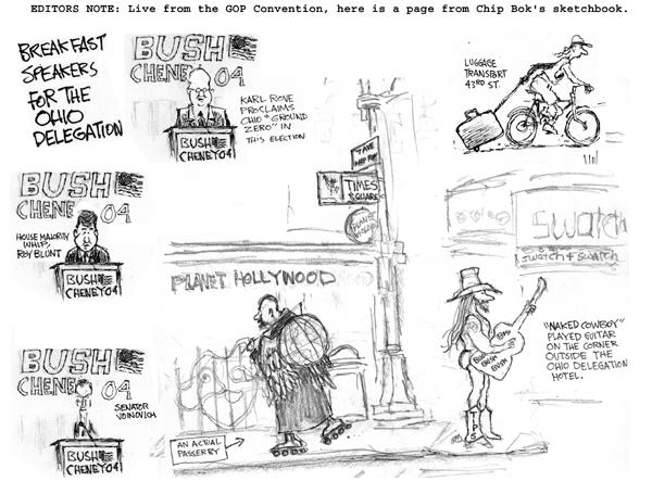 Cartoonist Chip Bok  Chip Bok's Editorial Cartoons 2004-09-01 page