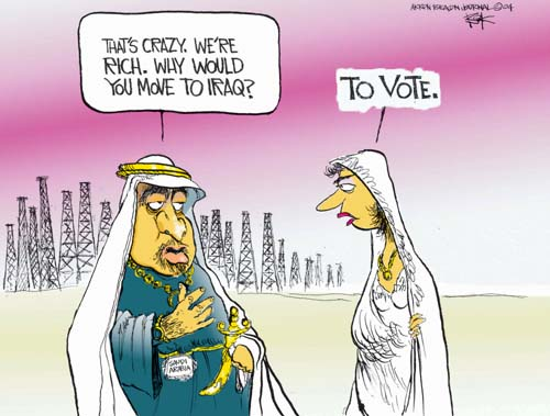 Saudi Arabia.  Thats crazy.  Were rich.  Why would you move to Iraq.  To vote.