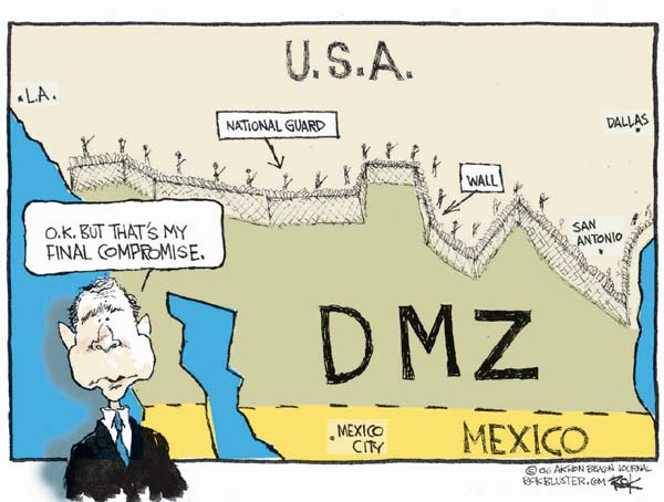 Chip Bok  Chip Bok's Editorial Cartoons 2006-05-17 border fence