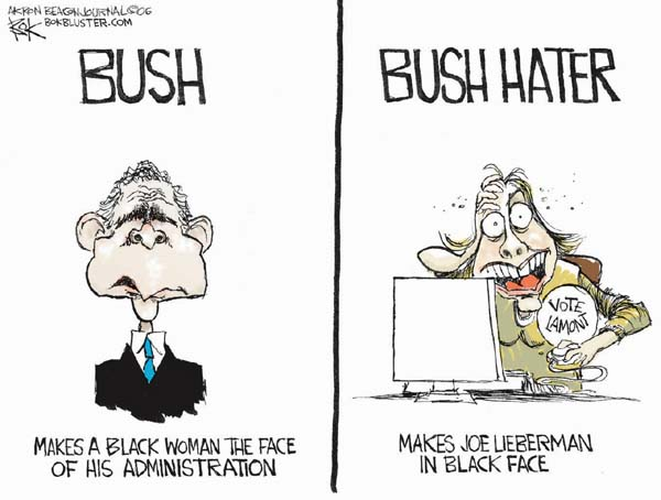 Bush. Makes a black woman the face of his administration. Bush hater. Vote Lamont. Makes Joe Lieberman in black face.