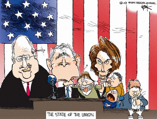 The State of the Union.  (Following up on Speaker of the House Nancy Pelosi focus on children during the opening of the 110th Congress, President Bush, Vice President Cheney and Speaker Pelosi attend the State of the Union speech surrounded by active children.)