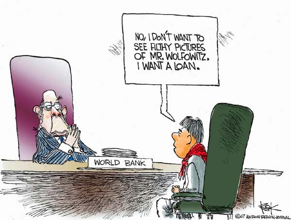 Cartoonist Chip Bok  Chip Bok's Editorial Cartoons 2007-04-25 global economy