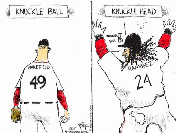 Knuckle Ball.  Wakefield 49.  Knuckle Head.  Indians 7.  Sox 3.  Ramirez 24.