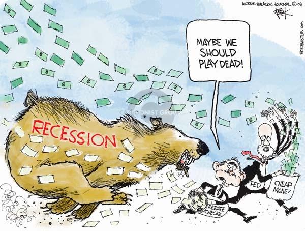 Cartoonist Chip Bok  Chip Bok's Editorial Cartoons 2008-01-23 economic stimulus