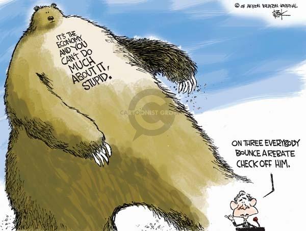 Cartoonist Chip Bok  Chip Bok's Editorial Cartoons 2008-02-13 economic stimulus