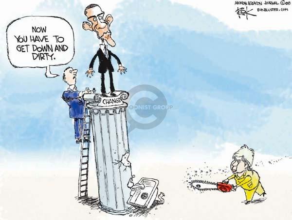 Cartoonist Chip Bok  Chip Bok's Editorial Cartoons 2008-03-10 campaign strategy