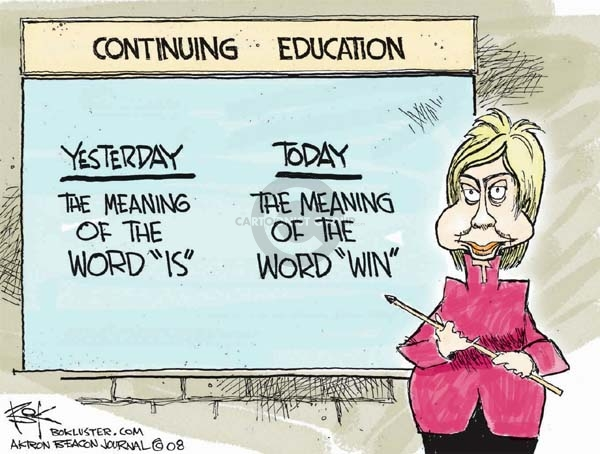"""Continuing Education.  Yesterday.  The meaning of the word """"is.""""  Today.  The meaning of the word """"win."""""""