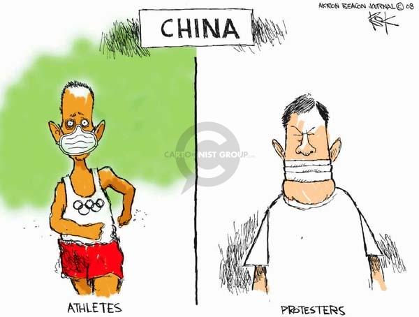 Chip Bok  Chip Bok's Editorial Cartoons 2008-04-03 2008 Olympics