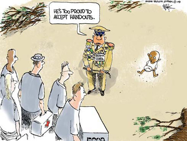 Cartoonist Chip Bok  Chip Bok's Editorial Cartoons 2008-05-12 foreign aid