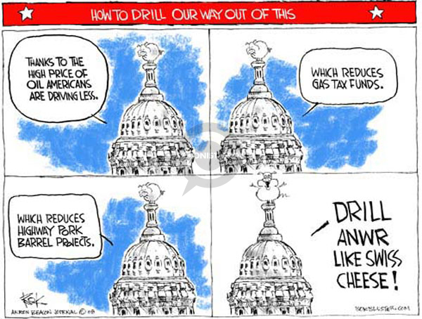Cartoonist Chip Bok  Chip Bok's Editorial Cartoons 2008-07-29 oil drilling
