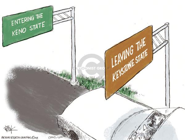 Cartoonist Chip Bok  Chip Bok's Editorial Cartoons 2008-08-07 state budget