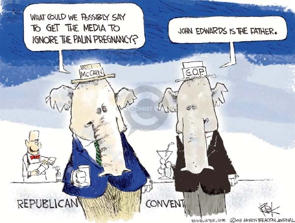 Cartoonist Chip Bok  Chip Bok's Editorial Cartoons 2008-09-03 republican convention