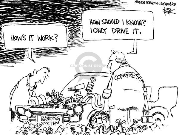 Cartoonist Chip Bok  Chip Bok's Editorial Cartoons 2008-10-02 bank