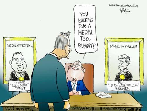 Cartoonist Chip Bok  Chip Bok's Editorial Cartoons 2004-12-21 presidential cabinet