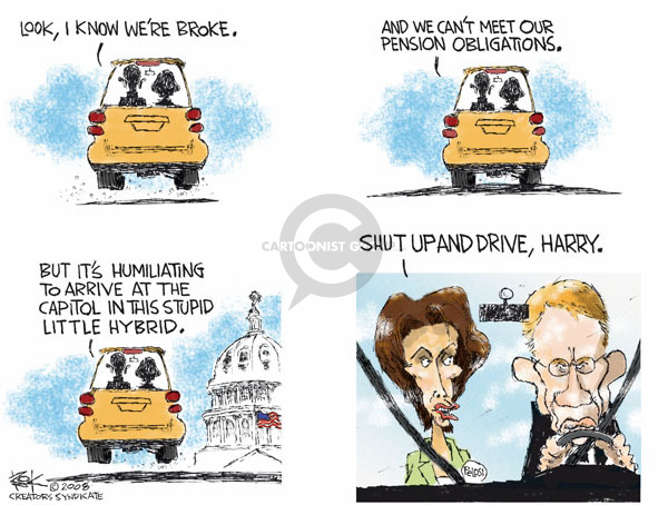 Cartoonist Chip Bok  Chip Bok's Editorial Cartoons 2008-12-08 automotive industry bailout