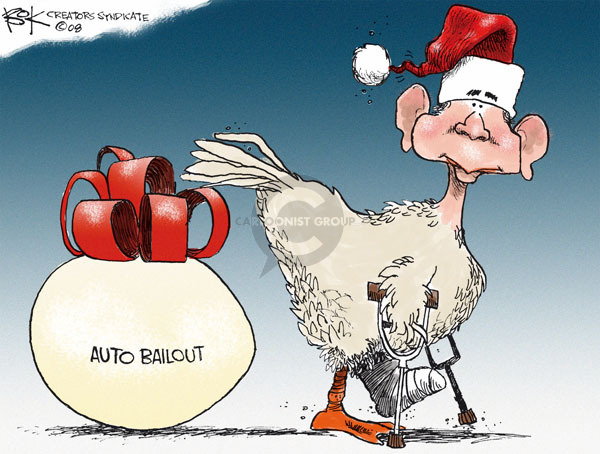 Cartoonist Chip Bok  Chip Bok's Editorial Cartoons 2008-12-22 automotive industry bailout