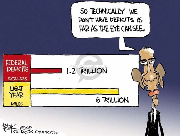 Federal Deficits.  1.2 trillion.  Light year miles.  6 trillion.  So technically we dont have deficits as far as the eye can see.