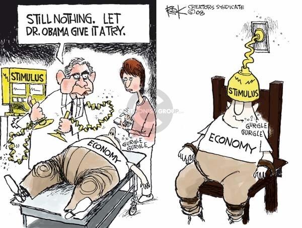Cartoonist Chip Bok  Chip Bok's Editorial Cartoons 2009-01-09 Obama economy