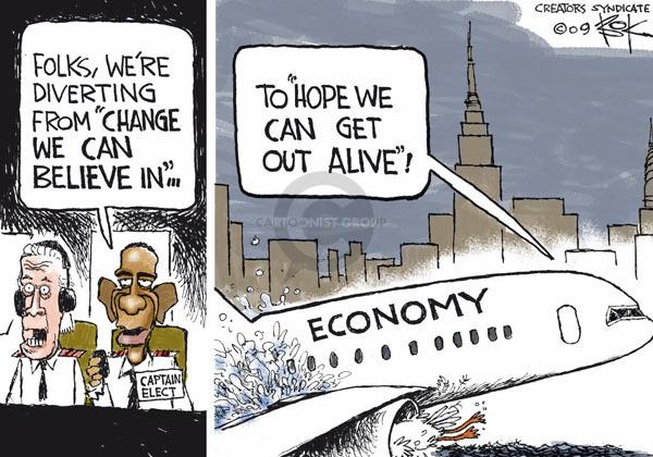 Cartoonist Chip Bok  Chip Bok's Editorial Cartoons 2009-01-16 Obama economy