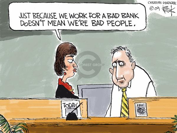 Cartoonist Chip Bok  Chip Bok's Editorial Cartoons 2009-01-30 bank