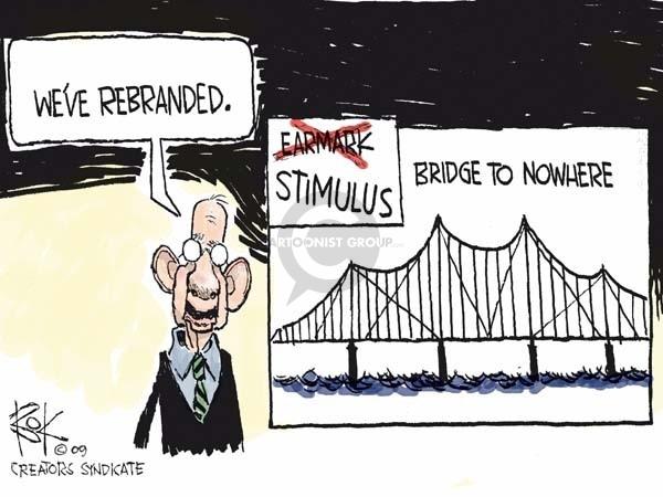 Cartoonist Chip Bok  Chip Bok's Editorial Cartoons 2009-02-10 economic stimulus