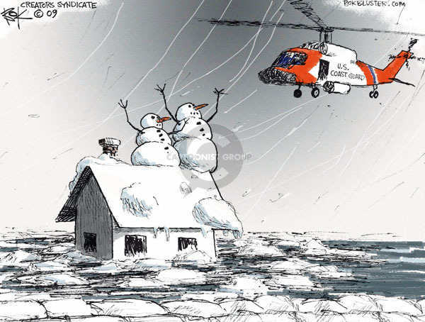 No caption. (A US Coast Guard helicopter rescues melting snowmen).