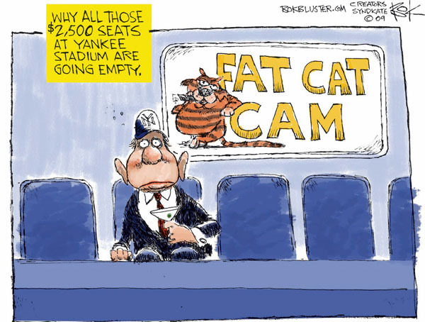 Why all those $2,500 seats at Yankee Stadium are going empty. NY. Fat Cat Cam.