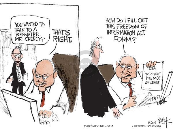 Cartoonist Chip Bok  Chip Bok's Editorial Cartoons 2009-05-13 Dick Cheney
