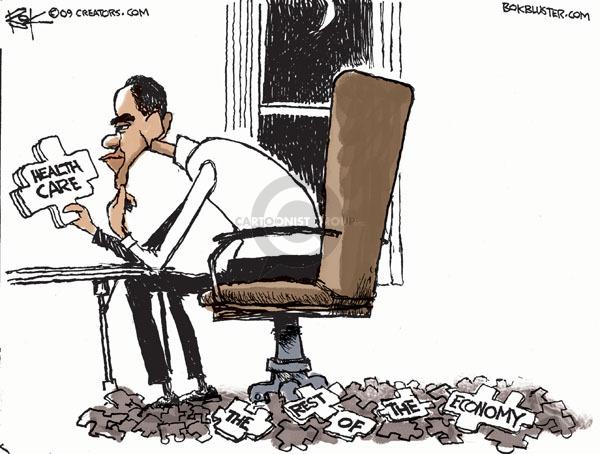 Cartoonist Chip Bok  Chip Bok's Editorial Cartoons 2009-10-23 Obama economy