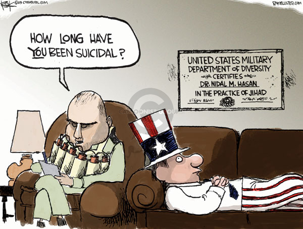 Cartoonist Chip Bok  Chip Bok's Editorial Cartoons 2009-11-11 military mental health