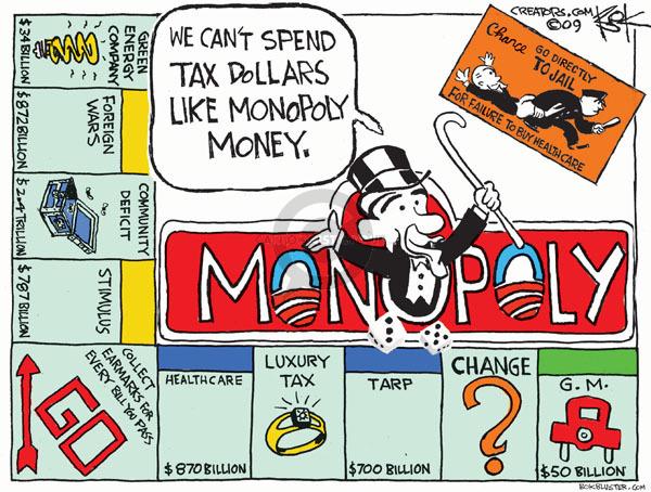 Cartoonist Chip Bok  Chip Bok's Editorial Cartoons 2009-12-28 Obama economy