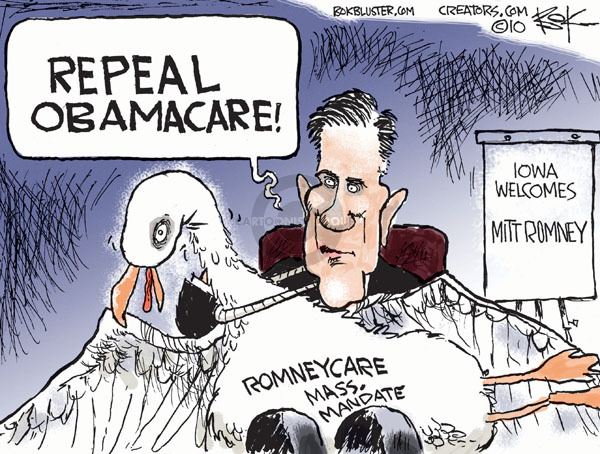 Repeal Obamacare.  Romneycare Mass. Mandate.  Iowa Welcomes Mitt Romney.