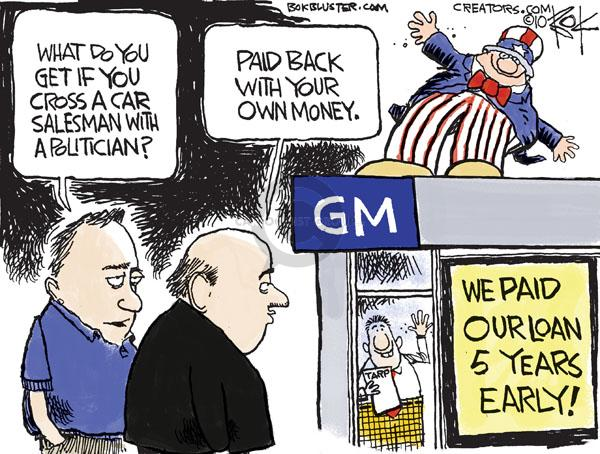 Cartoonist Chip Bok  Chip Bok's Editorial Cartoons 2010-05-14 automotive industry bailout