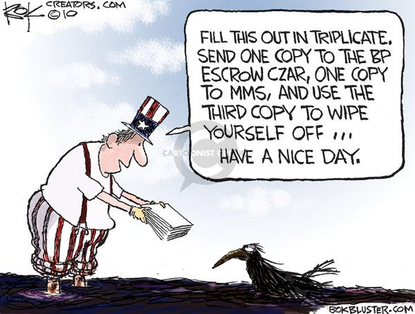Cartoonist Chip Bok  Chip Bok's Editorial Cartoons 2010-06-25 oil drilling