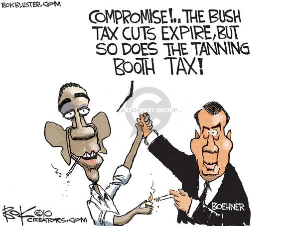 Compromise!  The Bush tax cuts expire, but so does the tanning booth tax!  Boehner.
