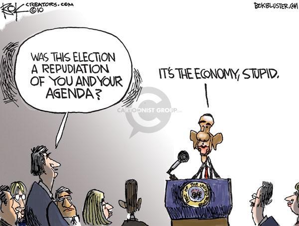 Cartoonist Chip Bok  Chip Bok's Editorial Cartoons 2010-11-03 Obama economy