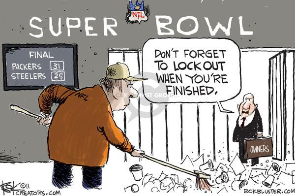 Super Bowl.  Final.  Packers 31.  Steelers 25.  Dont forget to lockout when youre finished. Owners.
