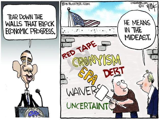 Cartoonist Chip Bok  Chip Bok's Editorial Cartoons 2011-05-24 Obama economy