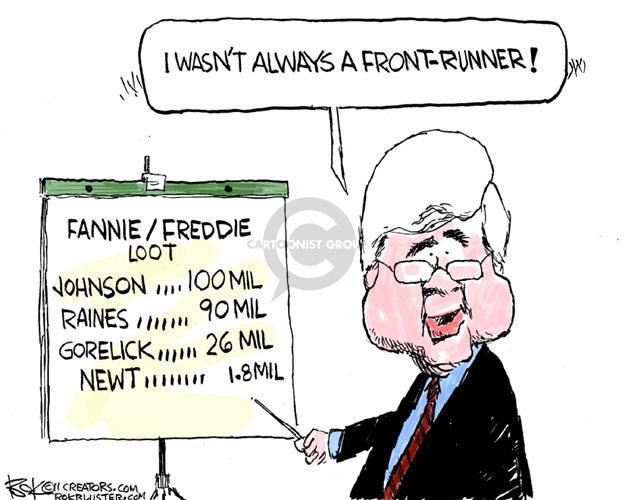 Cartoonist Chip Bok  Chip Bok's Editorial Cartoons 2011-11-18 Newt Gingrich