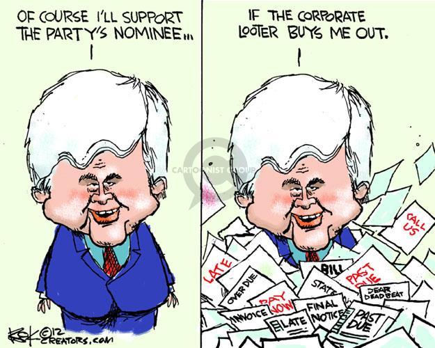 Cartoonist Chip Bok  Chip Bok's Editorial Cartoons 2012-05-05 Newt Gingrich