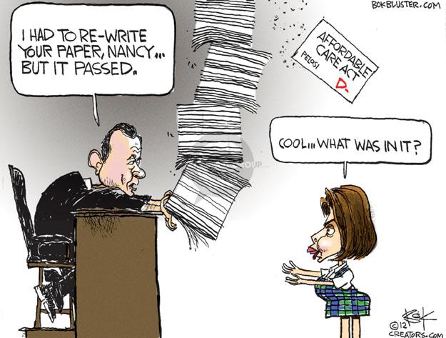I had to re-write your paper, Nancy … but it passed. Affordable Care Act. Pelosi. D-. Cool … what was in it?