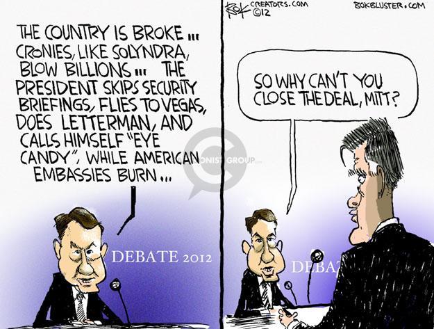 Chip Bok  Chip Bok's Editorial Cartoons 2012-10-24 republican debate