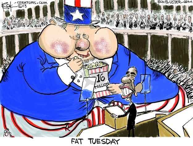 Cartoonist Chip Bok  Chip Bok's Editorial Cartoons 2013-02-13 deficit