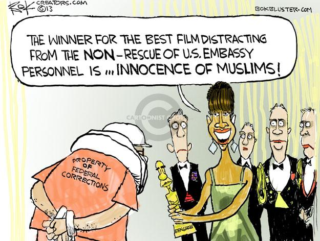 The winner for the best film distracting from the NON-rescue of U.S. Embassy personnel is … INNOCENCE OF MUSLIMS! Property of Federal Corrections.