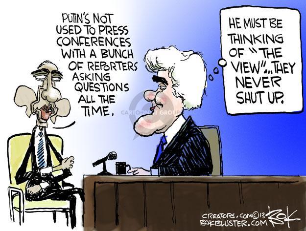 Cartoonist Chip Bok  Chip Bok's Editorial Cartoons 2013-08-07 Barack Obama Vladimir Putin