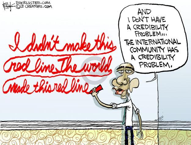 Cartoonist Chip Bok  Chip Bok's Editorial Cartoons 2013-09-04 credibility