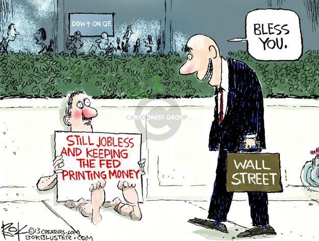 Dow On QE. Bless you. Wall Street. Still jobless and keeping the fed printing money.