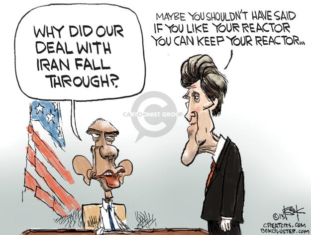 Cartoonist Chip Bok  Chip Bok's Editorial Cartoons 2013-11-12 negotiation